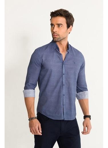 Avva Erkek  Çizgili Düğme Yaka Slim Fit Gömlek A01S2256 İndigo